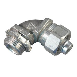 "Appleton ST-9050AL Liquidtight Connector, 1/2"", 90°, Non-Insulated, Aluminum"