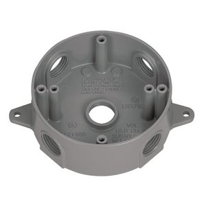 "Appleton WRX50 Weatherproof Round Box, Diameter: 4"", Depth: 1.62"", (5) 1/2"" Hubs"