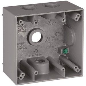 """Appleton WSL275 Weatherproof Box, 2-Gang, 2.2"""" Deep, (4) 3/4"""" Hubs, Aluminum"""