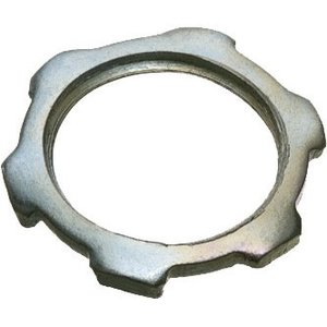 "Arlington 406 Conduit Locknut, 2"", Steel/Zinc Plated"