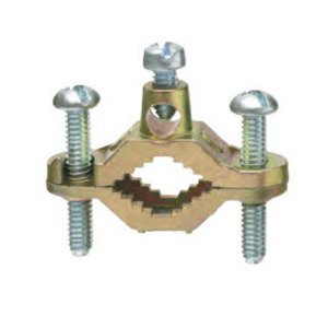 """Arlington 720S Ground Clamp, Water Pipe: 1/2 - 1"""", Wire Range: 8 - 2 AWG, Brass"""