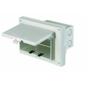 Arlington DBHR171W Recessed Box With Weatherproof In-Use Cover, 1-Gang, Horizontal