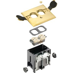 "Arlington FLBAF101MB Rectangular Floor Box Assembly, Adjustable, Depth: 4"", Brass"