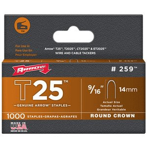Arrow 259 T25 Round Crown Staple