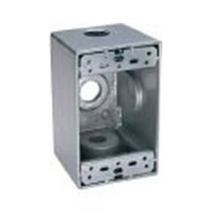 "BWF B75-2V Weatherproof Outlet Box, 1-Gang, 2"" Deep, (4) 3/4"" Hubs, Aluminum"