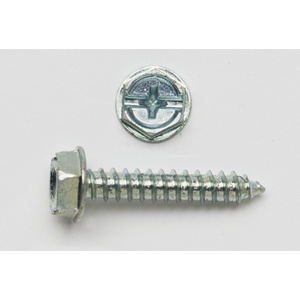 "Bizline 10X2HWHSTSZJ Tapping Screw, Hex Washer Head, Slotted, #10 x 2"", Zinc Plated"