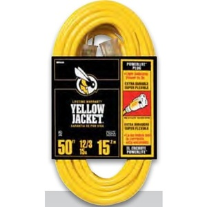 Bizline 50FT103YLJKT Outdoor Extension Cord, Yellow, 50' Long