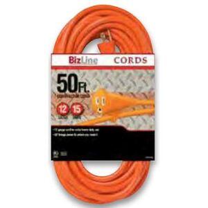 Bizline 50FT123OR Extension Cord, Outdoor - Round, 12/3, 50', Orange