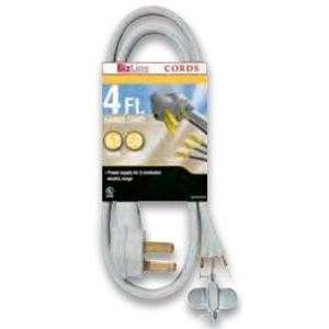 Bizline DR103GY304FT Dryer Cord, 30A, 125/250V, 3-Wire, 10-30P, 4' Long, Gray