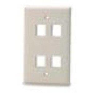 Bizline FPSG4PWHT Wall Plate, Snap-In, 1-Gang, 4 Port, White