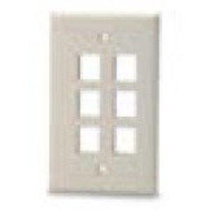 Bizline FPSG6PWHT Module Faceplate, 6-Port, 1-Gang, White, w/o Labeling Window