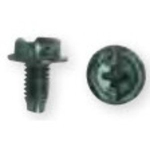Bizline R1012GSF Ground Screw, Green, 10-32, Combo Head