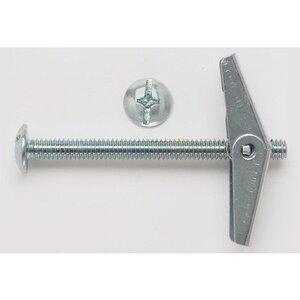 """Bizline R3164MTB Mushroom Head Toggle Bolt, 3/16"""" x 4"""", Zinc Plated Steel, 50/PK"""