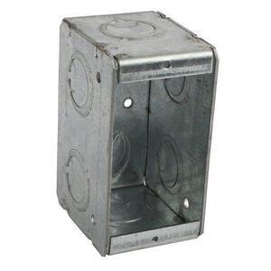 "Bowers 1-MBS Masonry Box, 1-Gang, 2-1/2"" Deep, 1/2"" & 3/4"" KOs, Steel"