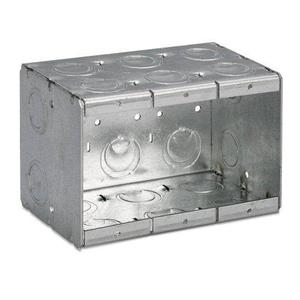 "Bowers 3-MB Masonry Box, 3-Gang, 3-1/2"" Deep, 1/2"" & 3/4"" KOs, Steel"