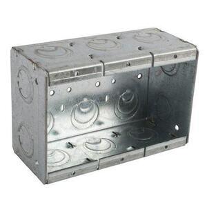 "Bowers 3-MBS Masonry Box, 3-Gang, 2-1/2"" Deep, 1/2"" & 3/4"" KOs, Steel"