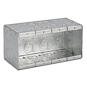 "Bowers 4-MB Masonry Box, 4-Gang, 3-1/2"" Deep, 1/2"" & 3/4"" KOs, Steel"