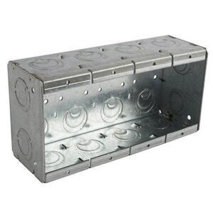"Bowers 4-MBS Masonry Box, 4-Gang, 2-1/2"" Deep, 1/2"" & 3/4"" KOs, Steel"