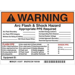 Brady 121077 Arc Flash & Shock Hazard Warning Label, BK/OR