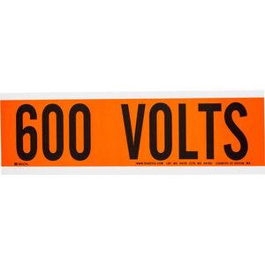 Brady 44118 Voltage Marker, Vinyl, Black on Orange