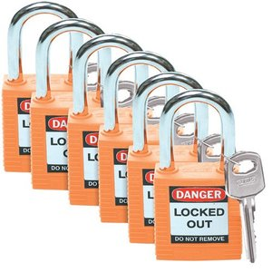 Brady 51347 Brady Sfty Padlock, 1.5 In Kd Orange 6/pac