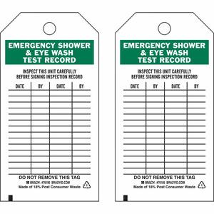 Brady 76195 Safety Inspection Tag: Emergency Shower & Eyewash Test Record