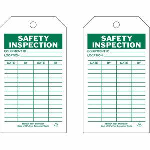 """Brady 86611 Safety Inspection Tag, 7"""" x 4"""", Polyester"""