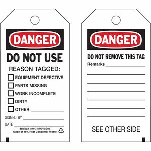 """Brady 86698 Accident Prevention Tag, 7"""" x 4"""", Paper"""