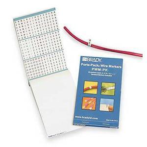 Brady PWM-PK-3 Wire Marker Book, Repositionable Vinyl Cloth, A-Z, 0-15, +, -,/
