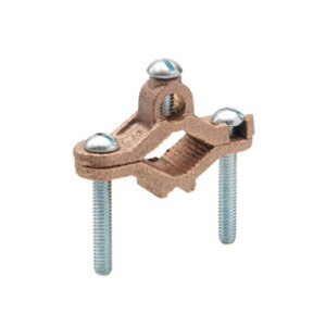 """Bridgeport Fittings 1307-B Bare Wire Ground Clamp, 1/2"""" - 1"""" Pipe, 10 - 2 AWG, Brass"""