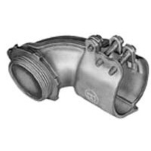 """Bridgeport Fittings 812 Flex Connector, 1-Screw, 90°, Insulated, 3"""", Malleable Iron"""