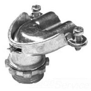 "Bridgeport Fittings 830 AC/Flex Connector, 90°, 2-Screw, Duplex, 1-1/2"", Malleable Iron"