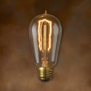 Bulbrite NOS-40-1890 Incandescent Bulb, Antique, ST18, 40W, 120V, Hairpin