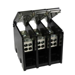 Burndy BDBLHC245003 Power Distribution Block, 3-Pole, (2) 4 - 500 Run, (4) 6 - 4/0 Tap