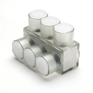 Burndy BIBS2503 Multi-Tap Connector, 3-Port, Insulated, Clear, 10 AWG - 250 MCM, 1-Sided