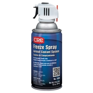 CRC 14086 Aerosol coolant system that instantly freezes surfaces to -60°F, dissipating heat & cooling equipment. It also assists in locating thermal intermittent components, failures & shorts. Safe to use on sensitive components & all surfaces finishes.