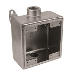 "Calbrite S60700FDCD Device Box, 2-Gang, Size: 3/4"", Dead-End, Stainless Steel"