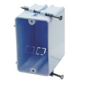 "Cantex EZ18SN Switch/Outlet Box, 1-Gang, Depth: 3-1/4"", Nail-On, Non-Metallic"