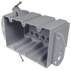 "Cantex EZ74TN Switch/Outlet Box, 3-Gang, Depth: 3"", Nail-On, Non-Metallic"