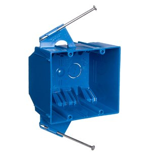 Carlon B232ACP Outlet Box, 2-Gang, Nail-On/New Work, 3-3/4 Inch Length, 4 Inch Width, 3 Inch Depth, 32 Cubic Inches, Blue, PVC Includes Captive Nails