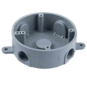 "Carlon E365D-CAR Weatherproof Splice Box, 4"" Round, (5) 1/2"" Hubs, Non-Metallic"