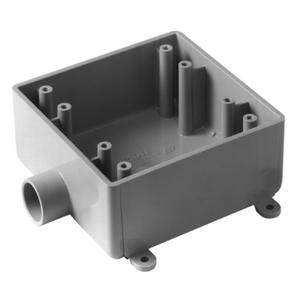 """Carlon E9802F PVC Box, 2-Gang, (1) 1"""" Hub, Type: FSE, Gray, Non-Metallic"""