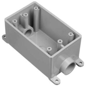 """Carlon E981EFN Weatherproof Box, 1-Gang, Type: FSC, (2) 3/4"""" Hubs, Non-Metallic"""