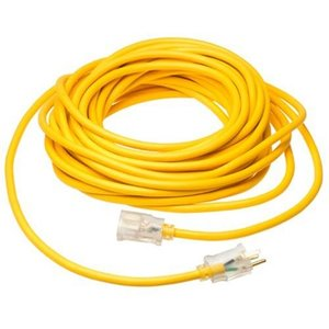 Coleman Cable 1688SW0002 Lighted Extension Cord, SJTW, 12/3 AWG, Yellow, 50', Outdoor
