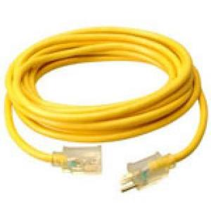Coleman Cable 2588SW0002 Contractor Extension Cord, 15A, 125V, 50', Yellow, Indicator