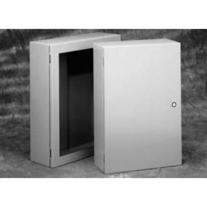 "Cooper B-Line 36308-SD-M1-10 Wall Mount Enclosure With Quarter Turn Latch, NEMA 4, 36 x 30 x 8"", Steel/Gray"