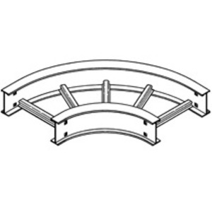 "Cooper B-Line 6A-12-90HB12 Cable Tray 90° Horizontal Bend, 12"" Radius, 12"" W, 6"" H, Aluminum"