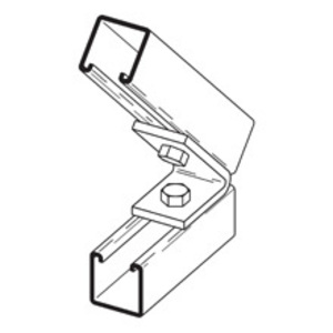 Cooper B-Line B155PAZN Closed Angle Fitting, Two Hole, Pre-Assembled, 45°, Steel/Zinc