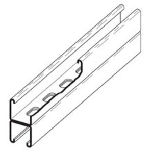 "Cooper B-Line B22SHA-120GLV Channel - Back To Back, Slotted Holes, Steel, Pre-Galvanized, 1-5/8"" x 3-1/4"" x 10'"