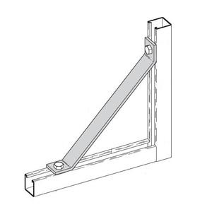 "Cooper B-Line B261-18ZN Bracket, 45°, 2-Hole, Length: 18"", Steel/Zinc"